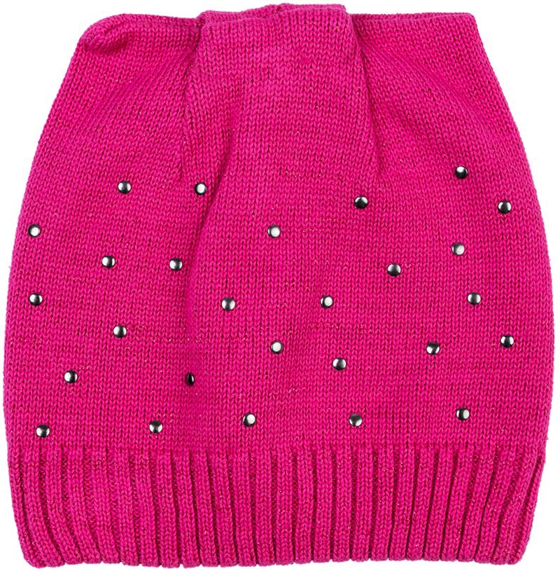 Шапка для девочки PlayToday, цвет: розовый. 372049. Размер 54372049Двуслойная шапка PlayToday из мягкого трикотажа с люрексом - отличное решение для холодной погоды. Модель без завязок, плотно прилегает к голове. В качестве декора использованы стразы. Необычная конструкция шапки создает эффект ушек.
