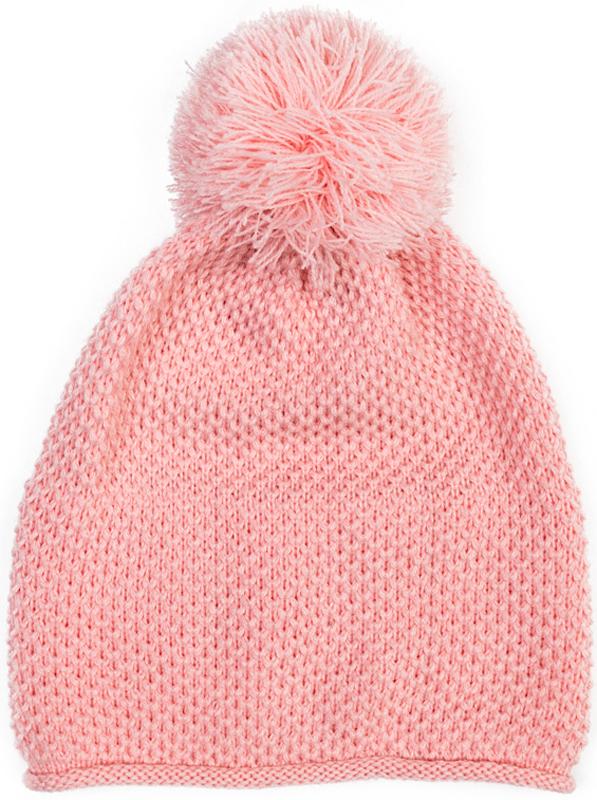 Шапка для девочки PlayToday, цвет: светло-розовый. 372082. Размер 54372082Вязаная шапка PlayToday на подкладке - отличное решение для холодной погоды. Модель без завязок, плотно прилегает к голове, дополнена оригинальным помпоном. Подкладка изделия из теплого флиса.