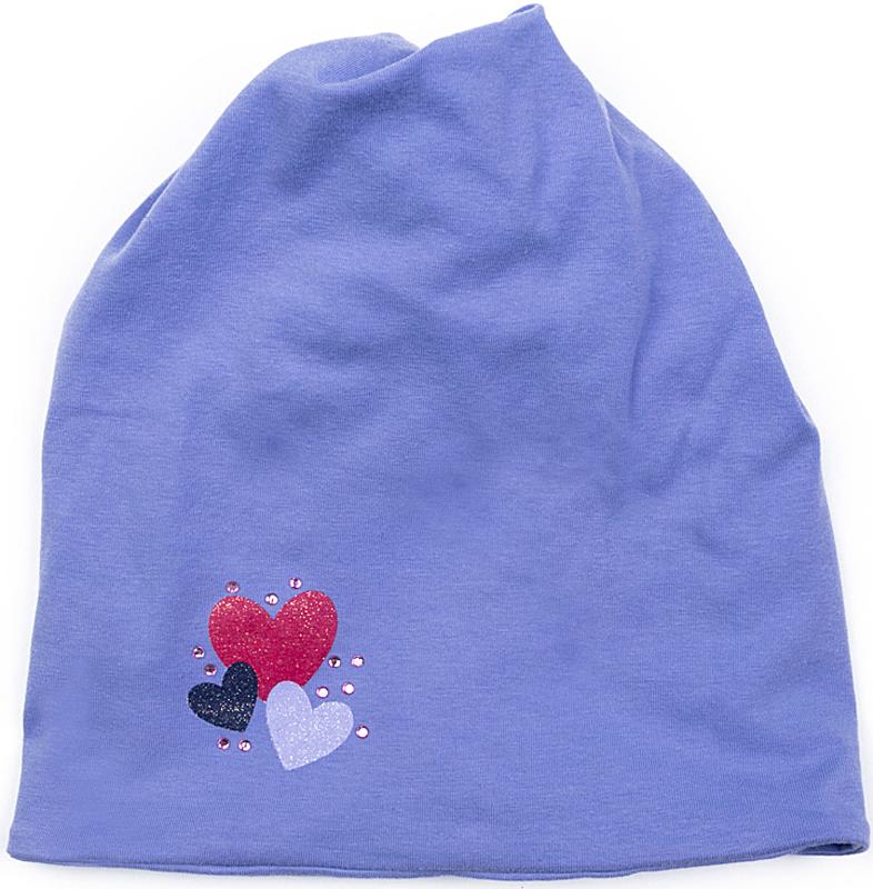 Шапка для девочки PlayToday, цвет: сиреневый. 372080. Размер 54372080Шапка PlayToday из трикотажа - отличное решение для прогулок в прохладную погоду. Крой шапки оригинальный, модель удобна для девочек с длинными волосами - сверху предусмотрено отверстие для прически с хвостом. Для модниц с короткими волосами такая шапка тоже подойдет - верх шапки закручен в эффектный узел.