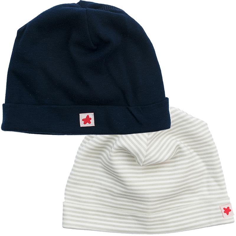 Шапка для мальчика PlayToday, цвет: темно-синий, серый, 2 шт. 377818. Размер 40377818Шапки PlayToday из трикотажа всегда актуальны в гардеробе ребенка. Модели без завязок, плотно прилегают к голове, комфортны при носке.В комплект входит две шапки.