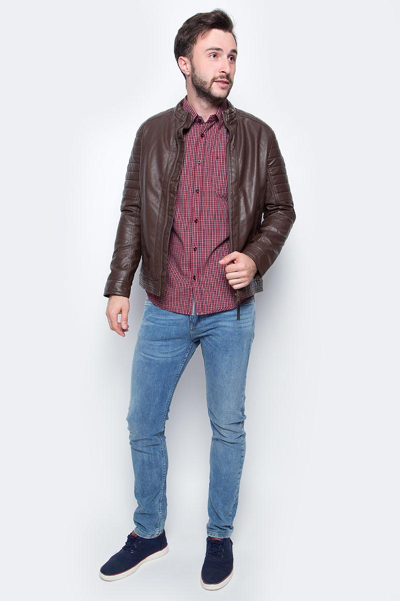 Куртка мужская Tom Tailor, цвет: коричневый. 3722259.00.10. Размер S (46)3722259.00.10Мужская куртка Tom Tailor выполнена из искусственной кожи. Модель с длинными рукавами и невысоким воротником-стойкой застегивается на молнию. По бокам дополнена карманами.