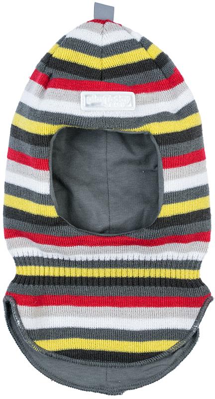 Балаклава для мальчика PlayToday, цвет: серый, желтый, красный. 377076. Размер 48377076Балаклава PlayToday - отличное решение для зимнего гардероба ребенка. Модель на подкладке из мягкого трикотажа. Специальные вставки защитят уши ребенка при сильном ветре. Шапка плотно прилегает к голове и комфортна при носке. Дополнена светоотражающими элементами. Ребенок будет виден в темное время суток.