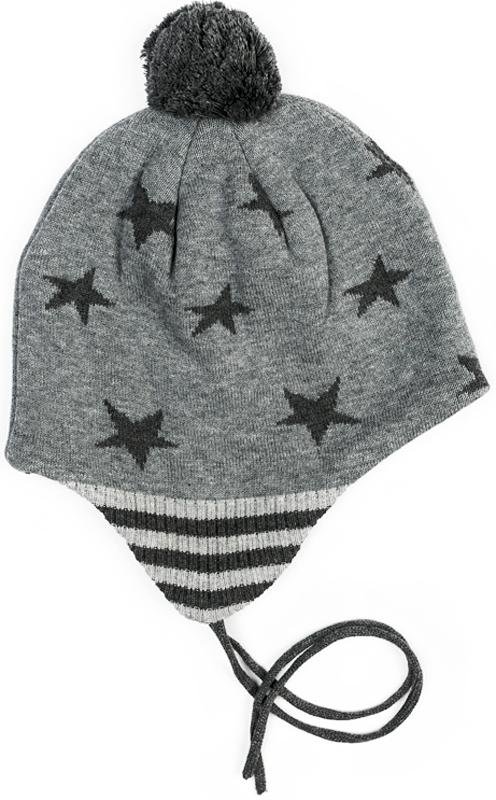 Шапка для мальчика PlayToday, цвет: темно-серый, серый. 371027. Размер 52371027Шапка PlayToday из трикотажа на мягкой подкладке и на завязках подойдет для прогулок в прохладную погоду. Эргономичная конструкция этой шапки предохранит уши ребенка от сильного ветра. Модель плотно прилегает к голове. В качестве декора использован эффектный помпон и декор в виде звезд контрастного цвета.