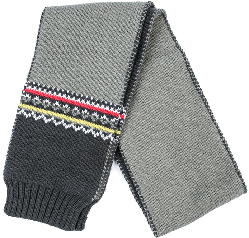 Шарф для мальчика PlayToday, цвет: серый. 377080. Размер 115 х 13 см377080Стильный шарф PlayToday согреет вашего ребенка от сильного ветра и холода. Шарф необычайно мягкий и приятный на ощупь.Оригинальный дизайн и яркая расцветка делают этот шарфик модным и стильным предметом детского гардероба.