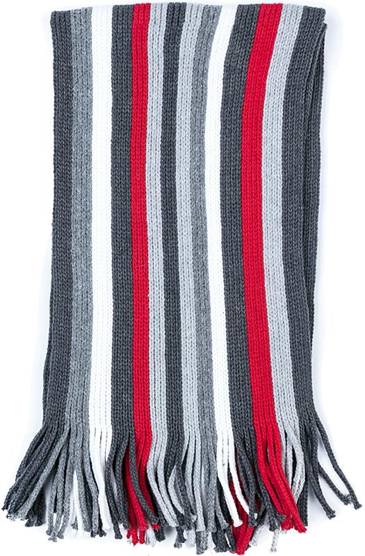 Шарф для мальчика PlayToday, цвет: серый, белый, красный. 371028. Размер 130 х 15 см371028Стильный шарф PlayToday согреет вашего ребенка от сильного ветра и холода. Шарф необычайно мягкий и приятный на ощупь.Оригинальный дизайн и яркая расцветка делают этот шарфик модным и стильным предметом детского гардероба.