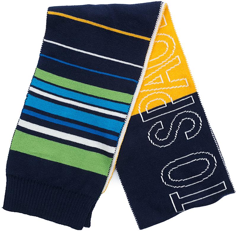 Шарф для мальчика PlayToday, цвет: темно-синий, желтый. 371180. Размер 130 х 15 см371180Стильный шарф PlayToday согреет вашего ребенка от сильного ветра и холода. Шарф необычайно мягкий и приятный на ощупь.Оригинальный дизайн и яркая расцветка делают этот шарфик модным и стильным предметом детского гардероба.