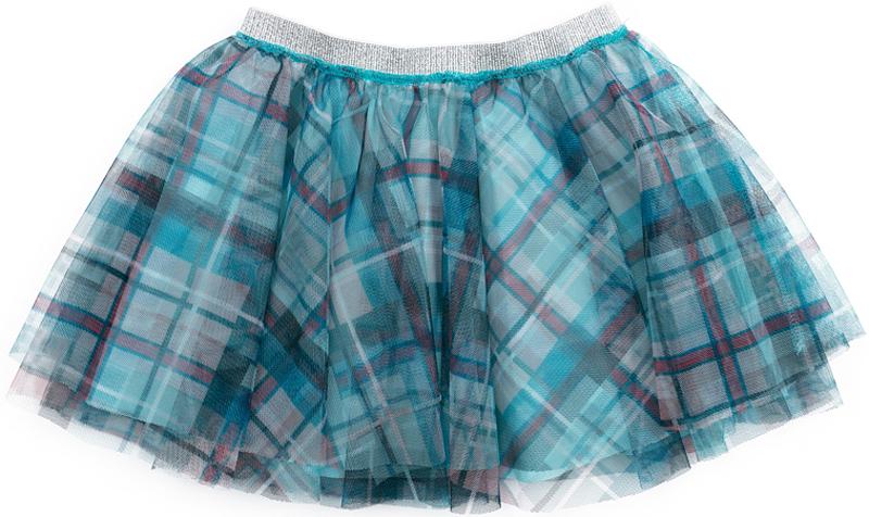 Юбка для девочки PlayToday, цвет: голубой, розовый, серый. 372118. Размер 110372118