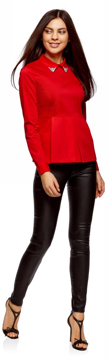 Блузка женская oodji Ultra, цвет: красный. 11400444-2/42083/4500N. Размер 36-170 (42-170)11400444-2/42083/4500N