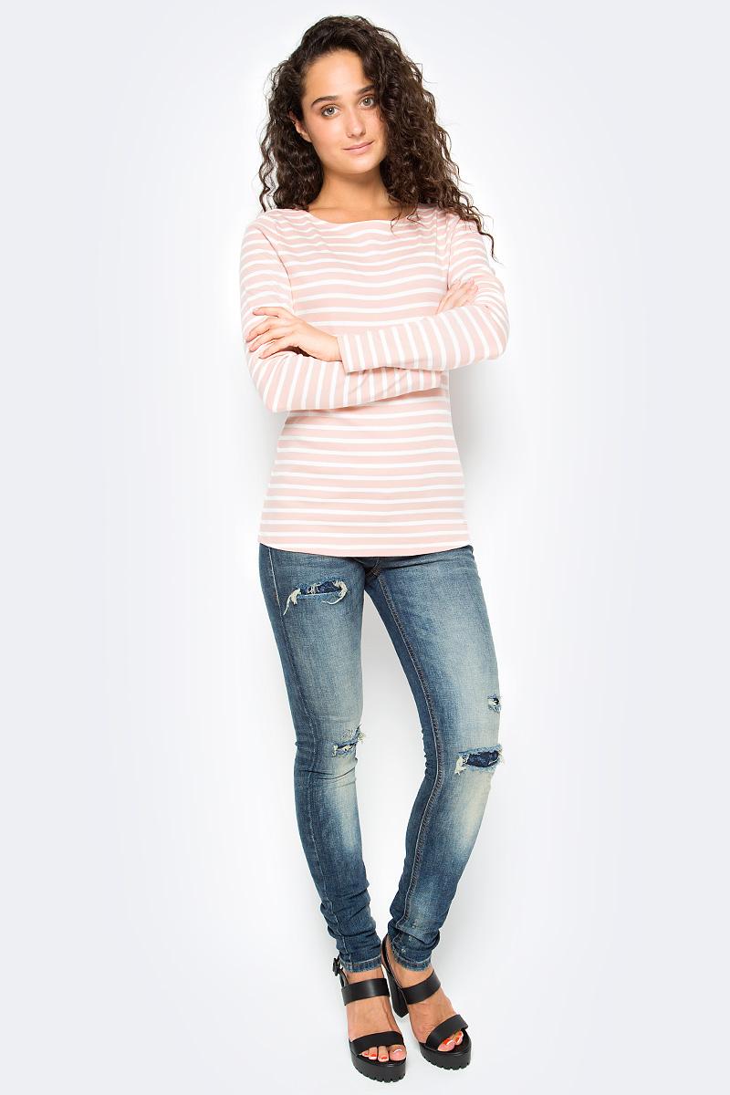 Лонгслив женский Tom Tailor, цвет: розовый, белый. 1035268.09.71_4676. Размер M (46)1035268.09.71_4676Женский лонгслив Tom Tailor выполнен из хлопкового трикотажа с добавлением вискозы. Модель с длинными рукавами и круглым вырезом горловины оформлена принтом в полоску.