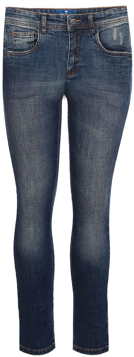 Джинсы для мальчика Tom Tailor, цвет: синий. 6205886.00.82_1195. Размер 1106205886.00.82_1195Детские джинсы для мальчика Tom Tailor с эффектом потертости ткани. Модель зауженного кроя и средней посадки в поясе застегивается на пуговицу, имеются ширинка на молнии и шлевки для ремня. Джинсы имеют классический пятикарманный крой.