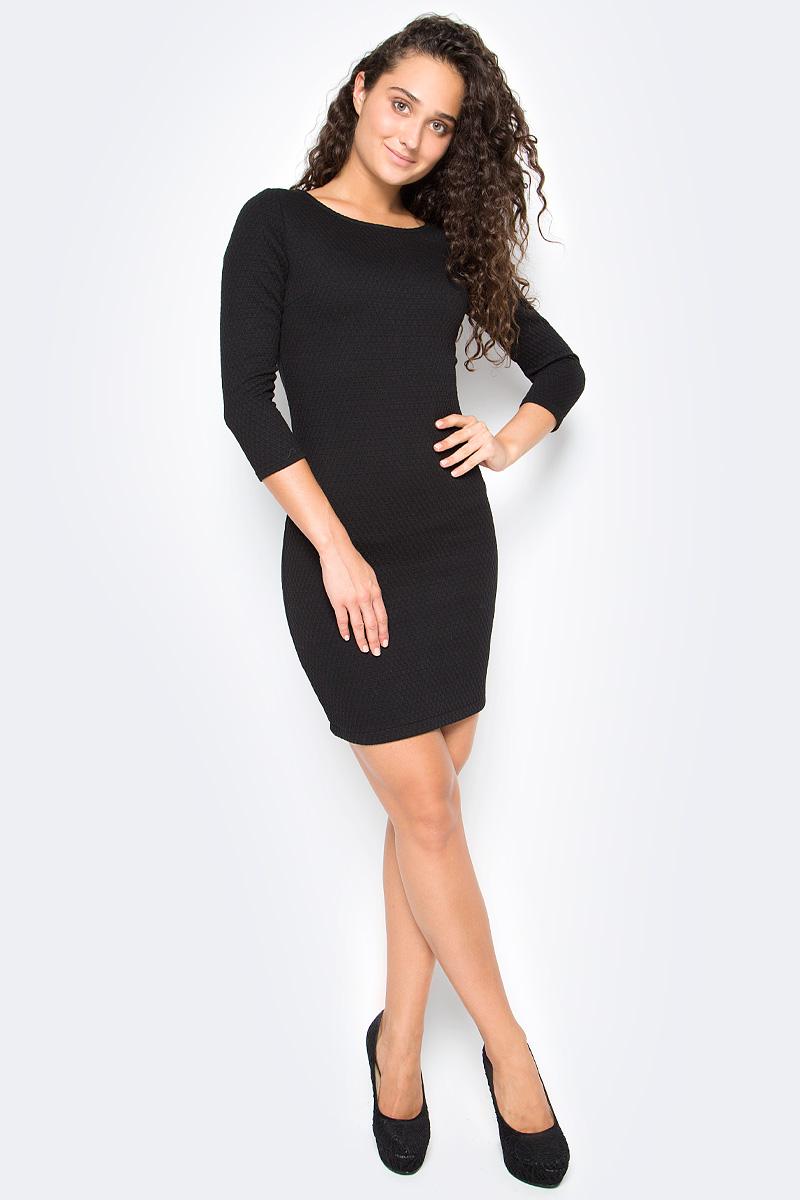 Платье Tom Tailor, цвет: черный. 5018803.09.71_2999. Размер S (44)5018803.09.71_2999Стильное платье Tom Tailor выполнено из высококачественного материала. Модель облегающего кроя с округлым вырезом горловины и рукавами 3/4 на спине застегивается на молнию.