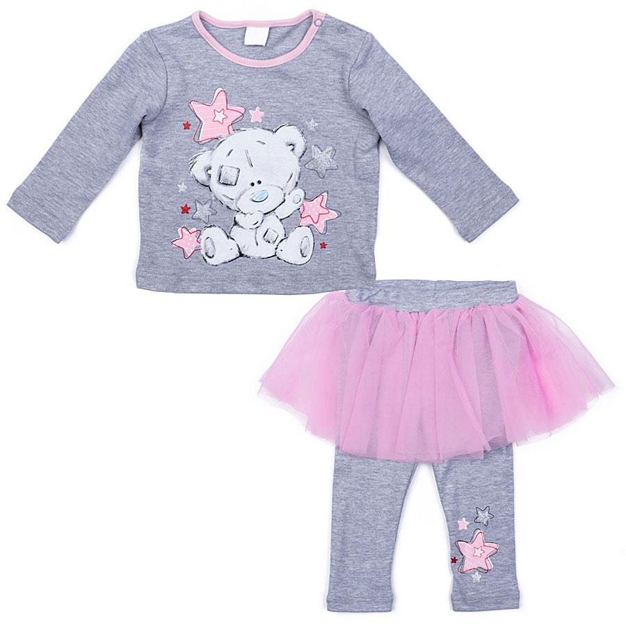 Комплект одежды для девочки PlayToday: футболка с длинным рукавом, леггинсы, цвет: серый, светло-розовый. 578802. Размер 56