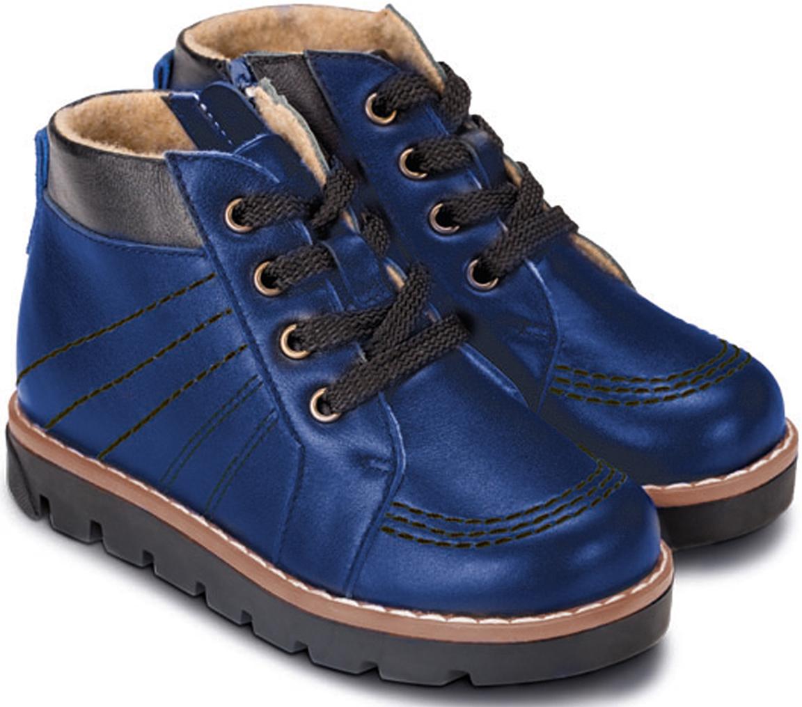 Ботинки детские TapiBoo Нью-Йорк, цвет: синий. 23002. Размер 2623002Утепленные ботинки от TapiBoo. Подкладка из шерстяной байки LANATEX поддерживает комфортную температуру внутри обуви при погодных условиях от +5 до -5 градусов. Многослойная, анатомическая стелька гарантирует правильное формирование стопы. Для большего удобства ботинки снабжены застежкой молнией, что позволяет легко, не расшнуровывая, снимать и надевать обувь.