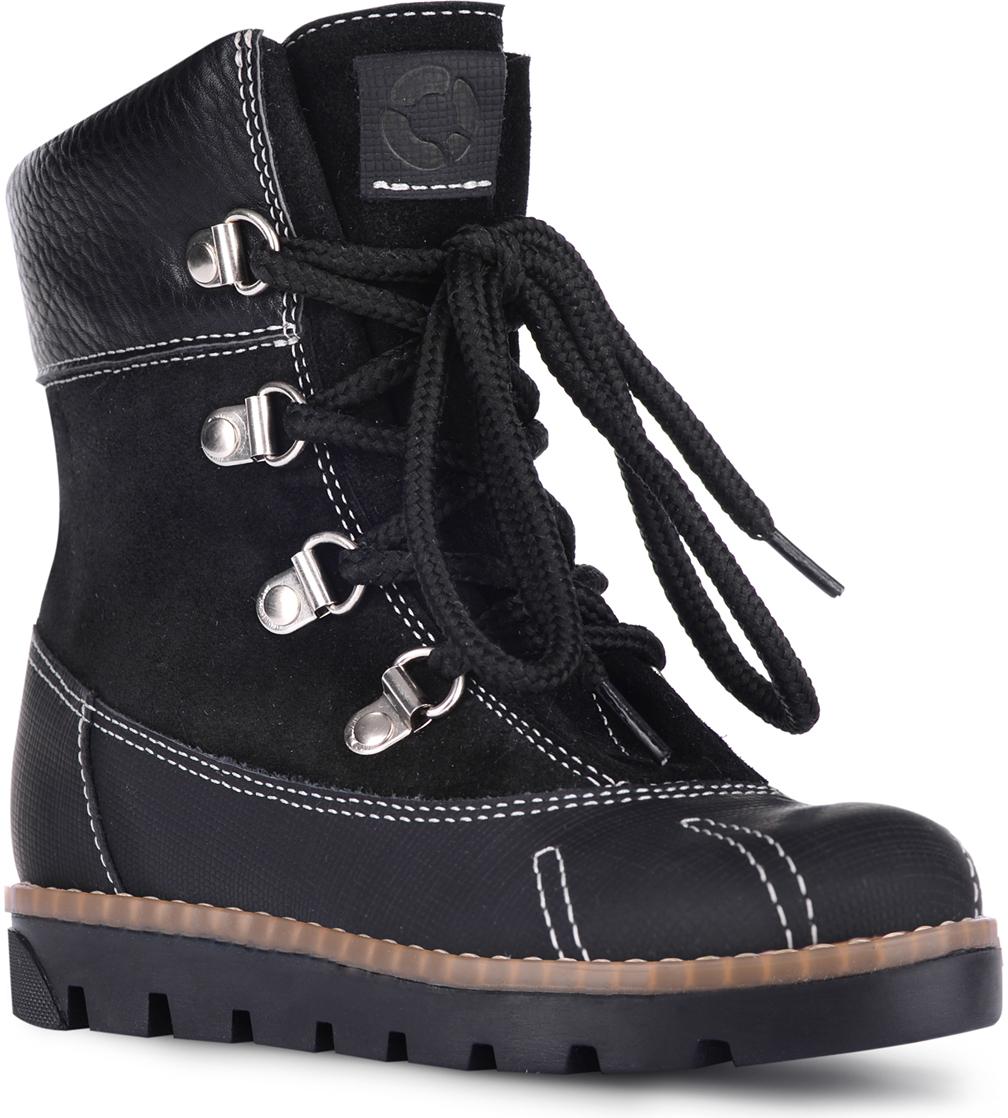 Ботинки детские TapiBoo Стокгольм, цвет: черный. 23007. Размер 3323007Ботинки утепленные от TapiBoo. Подкладка из шерстяной байки LANATEX поддерживает комфортную температуру внутри обуви при погодных условиях от +5 до -5 градусов. Многослойная, анатомическая стелька гарантирует правильное формирование стопы. Полнота ботинок регулируется при помощи шнурков. Толстая подошва и специальная гидрофобная кожа нижней части ботинок, защищает ножки ребенка от влаги.