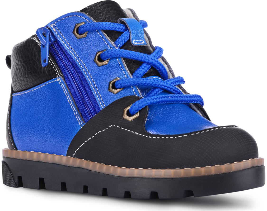 Ботинки для мальчиков TapiBoo Нью-Йорк, цвет: синий. 23008. Размер 3423008Утепленные ботинки от TapiBoo придутся по душе как маленьким непоседам, так и их родителям. Многослойная, анатомическая стелька гарантирует правильное формирование стопы. Жесткий фиксирующий задник с удлиненным крылом надежно стабилизирует голеностопный сустав во время ходьбы. Упругая, умеренно-эластичная подошва, имеющая перекат позволяющий повторить естественное движение стопы при ходьбе для правильного распределения нагрузки на опорно-двигательный аппарат ребенка. Подкладка из байки Lanatex поддерживает комфортную температуру внутри обуви при погодных условиях от +5°С до -5°С градусов. Для дополнительного удобства ботинки снабжены двумя застежками-молниями, что позволяет легко, не расшнуровывая, снимать и надевать обувь.