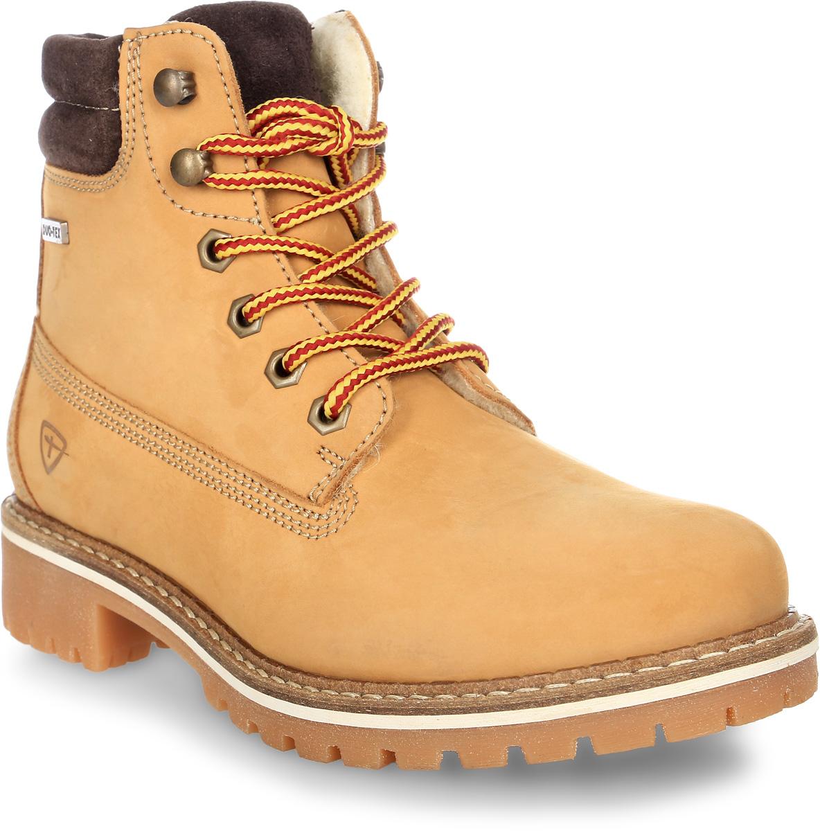 Ботинки женские Tamaris, цвет: желтый. 1-1-26244-29-613/225. Размер 381-1-26244-29-613/225Стильные женские ботинки Tamaris надежно защитят вас от холода. Верх выполнен из натурального нубука. Подкладка и стелька изготовлены из мягкой шерсти, позволяющих сохранить ваши ноги в тепле. Шнуровка надежно фиксирует модель на ноге. Подошва с крупным протектором обеспечивает хорошее сцепление с поверхностью. Такие ботинки отлично подойдут для каждодневного использования и подчеркнут ваш стиль и индивидуальность.