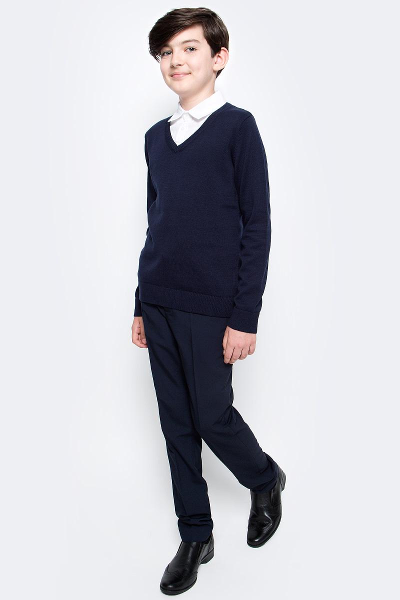 Брюки для мальчика Sela, цвет: темно-синий. P-815/344-7310. Размер 170, 15 летP-815/344-7310Классические брюки для мальчика Sela выполнены из высококачественного материала. Модель стандартной посадки застегивается на крючок в поясе и ширинку на застежке-молнии. Пояс имеет шлевки для ремня. Спереди брюки дополнены втачными карманами.