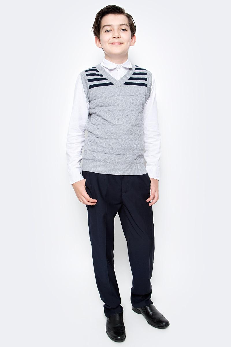 Жилет для мальчика Vitacci, цвет: серый. 1173001-02. Размер 1401173001-02Жилет школьный для мальчика выполнен из натурального хлопка. Модель оформлена принтом в полоску.