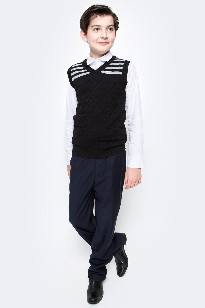Жилет для мальчика Vitacci, цвет: черный. 1173001-03. Размер 1581173001-03Жилет школьный для мальчика выполнен из натурального хлопка. Модель оформлена принтом в полоску.