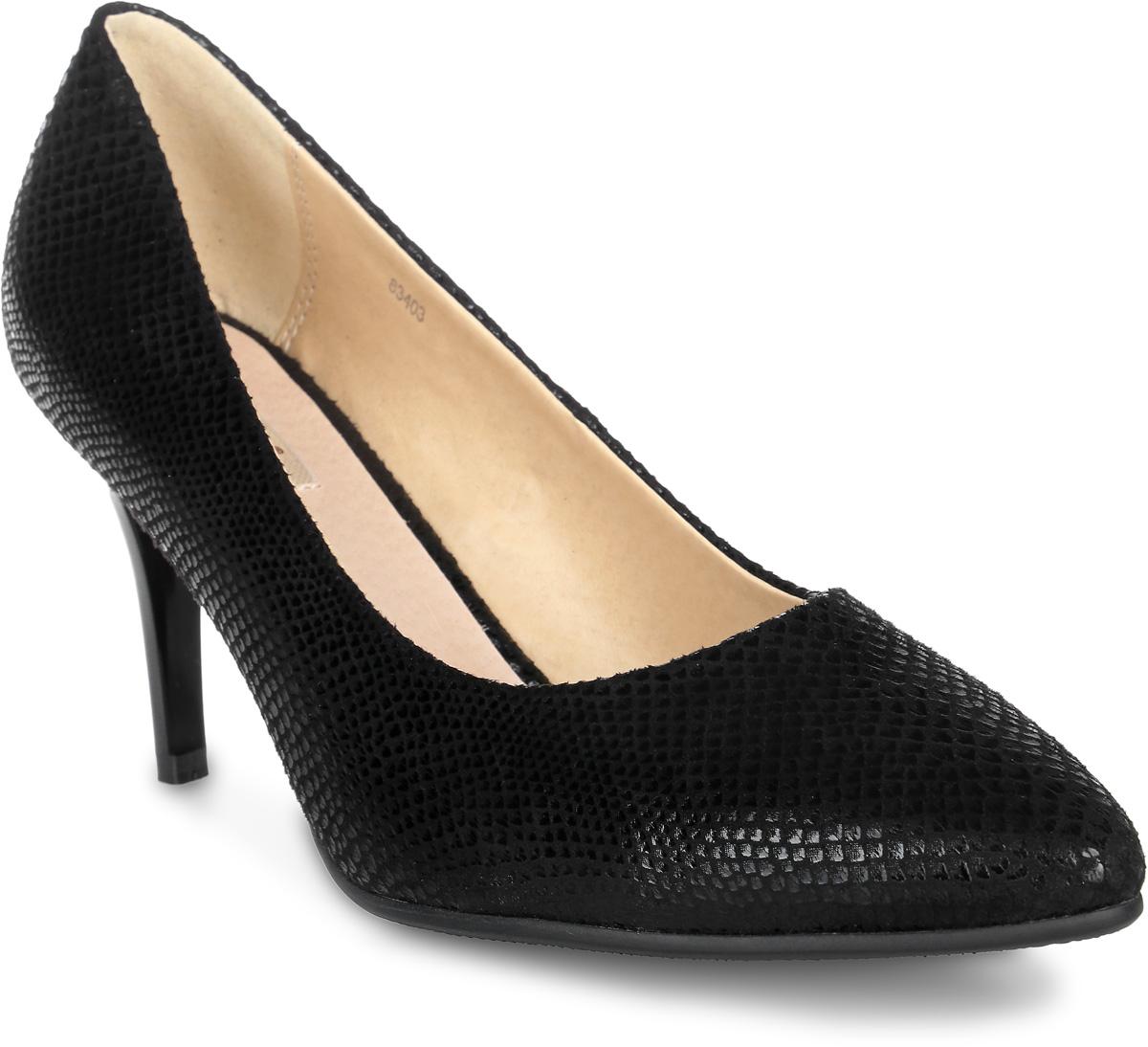 Туфли женские Vitacci, цвет: черный. 83403. Размер 3783403Стильные туфли Vitacci не оставят вас незамеченной! Модель изготовлена из качественной искусственной замши. Стелька из натуральной кожи обеспечивает комфорт и удобство при ходьбе. Подошва выполнена с высоким устойчивым каблуком.