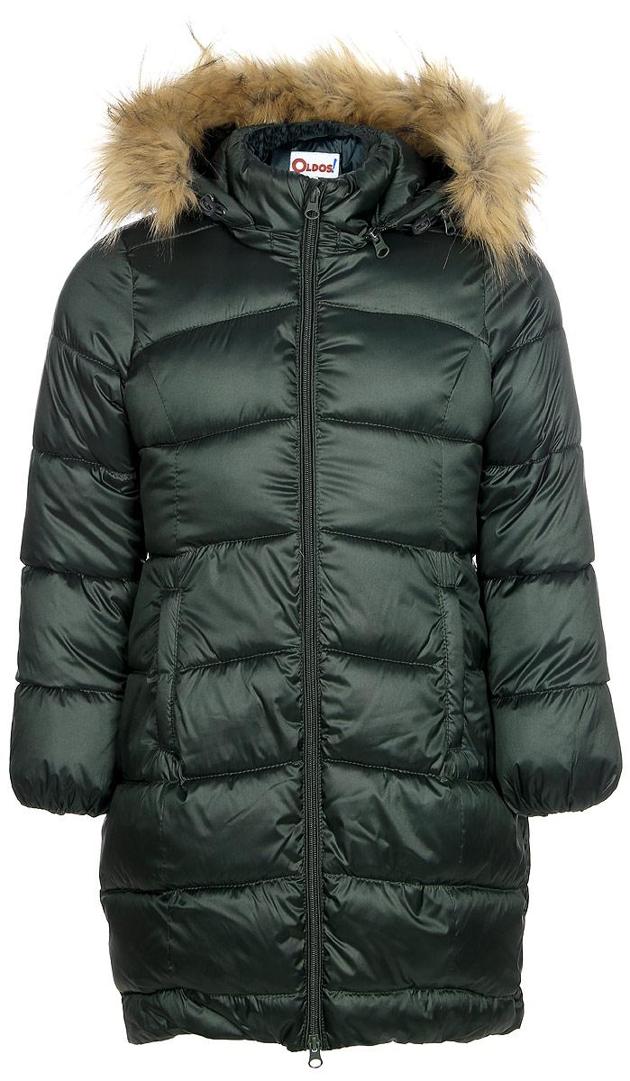 Пальто для девочки Oldos Лиза, цвет: темно-зеленый. 1O7CT00. Размер 152, 12 лет1O7CT00Зимнее классическое пальто для девочки Oldos Лиза c капюшоном и длинными рукавами выполнено из прочного полиэстера. В составе ткани верха нейлон, что делает изделие износостойким: оно не линяет, не протирается при интенсивной эксплуатации и сохраняет презентабельный вид при многократных стирках. Покрытие TEFLON защищает от воды и грязи. Современный утеплитель (искусственный лебяжий пух) легкий, как натуральный, отлично сохраняет тепло, не впитывает влагу, держит и быстро восстанавливает объем, гипоаллергенен.Подкладка – флис, в рукавах - гладкий полиэстер. Модель застегивается на застежку-молнию спереди и имеет ветрозащитный клапан. Пальто дополнено двумя карманами. Меховая опушка из искусственного меха отстегивается. Модель имеет визитку-нашивку (потеряшку). Светоотражающие элементы обеспечивают хорошую видимость в темное время суток. Пальто хорошо защищает от ветра и мороза благодаря съемному капюшону с регулировкой объема, воротнику-стойке, внутренним саморегулирующимся трикотажным манжетам в рукавах. Изделие рекомендовано носить при температуре от-35°С до 0°С.