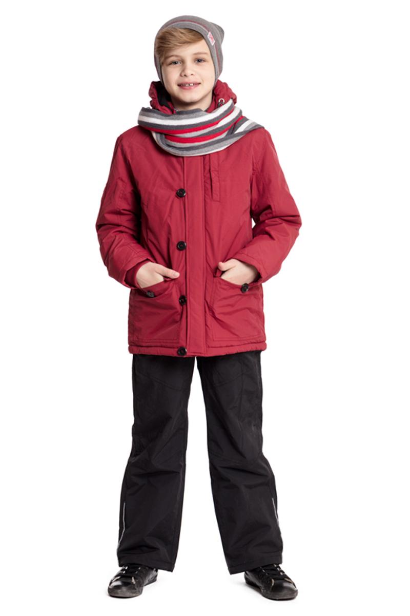 Парка для мальчика Scool, цвет: темно-красный. 373001. Размер 134373001Утепленная парка Scool из водоотталкивающей ткани с капюшоном - отличное решение для промозглой погоды. Модель на молнии. Специальный карман для бегунка не позволит застежке травмировать нежную детскую кожу. Подкладка модели из мягкого флиса. Куртка с удлиненной спинкой. Капюшон на молнии, при необходимости его можно отстегнуть. Рукава дополнены трикотажными манжетами для дополнительного сохранения тепла. Светоотражатели обеспечат видимость ребенка в темное время суток.