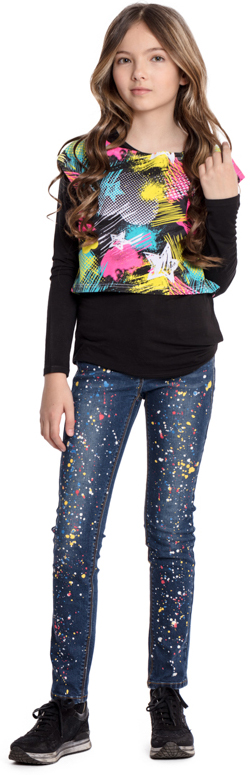 Джинсы для девочки Scool, цвет: синий. 374011. Размер 146374011Джинсы Scool выполнены из смесовой ткани с высоким содержанием хлопка. Классическая модель со шлевками. В качестве декора использован принт в виде разноцветных брызг красок.