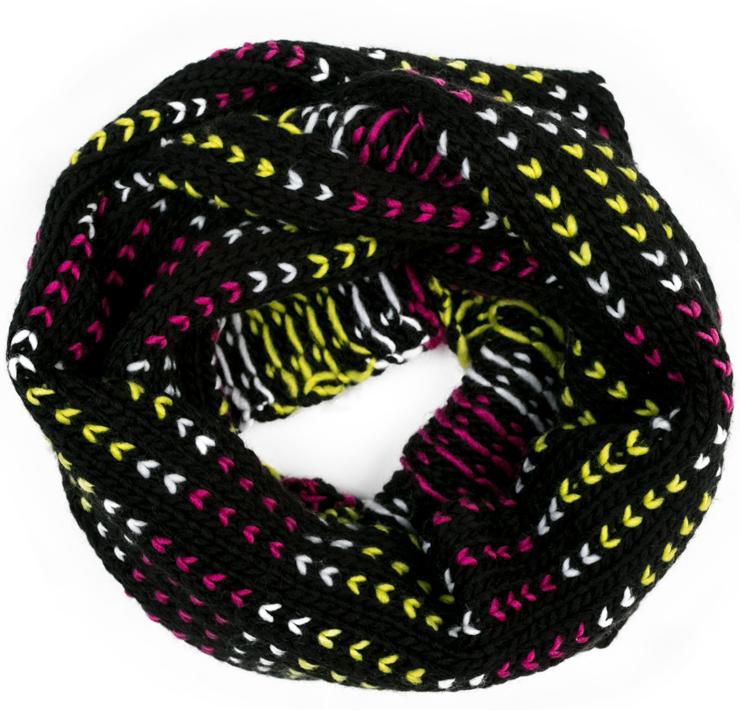 Снуд-хомут для девочки Scool, цвет: черный, желтый, розовый, белый. 374031. Размер 65 см х 22 см374031Стильный шарф-хомут Scoolбудет достойным аксессуаром в гардеробе ребенка. Яркие цвета модели отлично сочетаются с любым образом. В холодную погоду шарф отлично сохранит тепло.