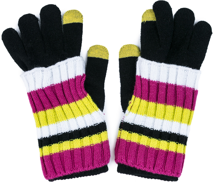 Перчатки для девочки Scool, цвет: черный, белый, розовый, желтый. 374032. Размер 18374032Smart Gloves - перчатки для сенсорных экранов! Вязаные перчатки станут идеальным вариантом для прохладной погоды. Они очень мягкие, хорошо тянутся и прекрасно сохраняют тепло. На манжетах - плотная резинка, которая хорошо держит перчатки на руках ребенка. На большом и указательном пальцах вплетены специальные нити, которые позволяют пользоваться телефоном, не снимая перчаток с рук. Модель дополнена оригинальными митенками-накладками - утеплителем для кистей рук. Перчатки выполнены в технике Yarn Dyed - в процессе производства используются разного цвета нити. При рекомендуемом уходе изделие не линяет и надолго остается в первоначальном виде.