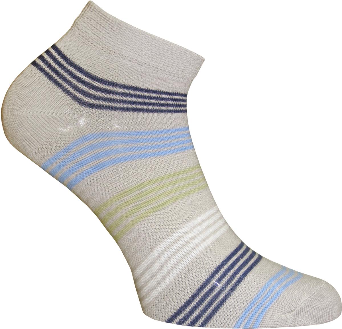 Носки женские Master Socks, цвет: светло-серый. 55151. Размер 2355151Удобные носки Master Socks, изготовленные из высококачественного комбинированного материала с хлопковой основой, очень мягкие и приятные на ощупь, позволяют коже дышать.Эластичная резинка плотно облегает ногу, не сдавливая ее, обеспечивая комфорт и удобство. Носки с укороченным паголенком оформлены принтом в полоску. Практичные и комфортные носки великолепно подойдут к любой вашей обуви.