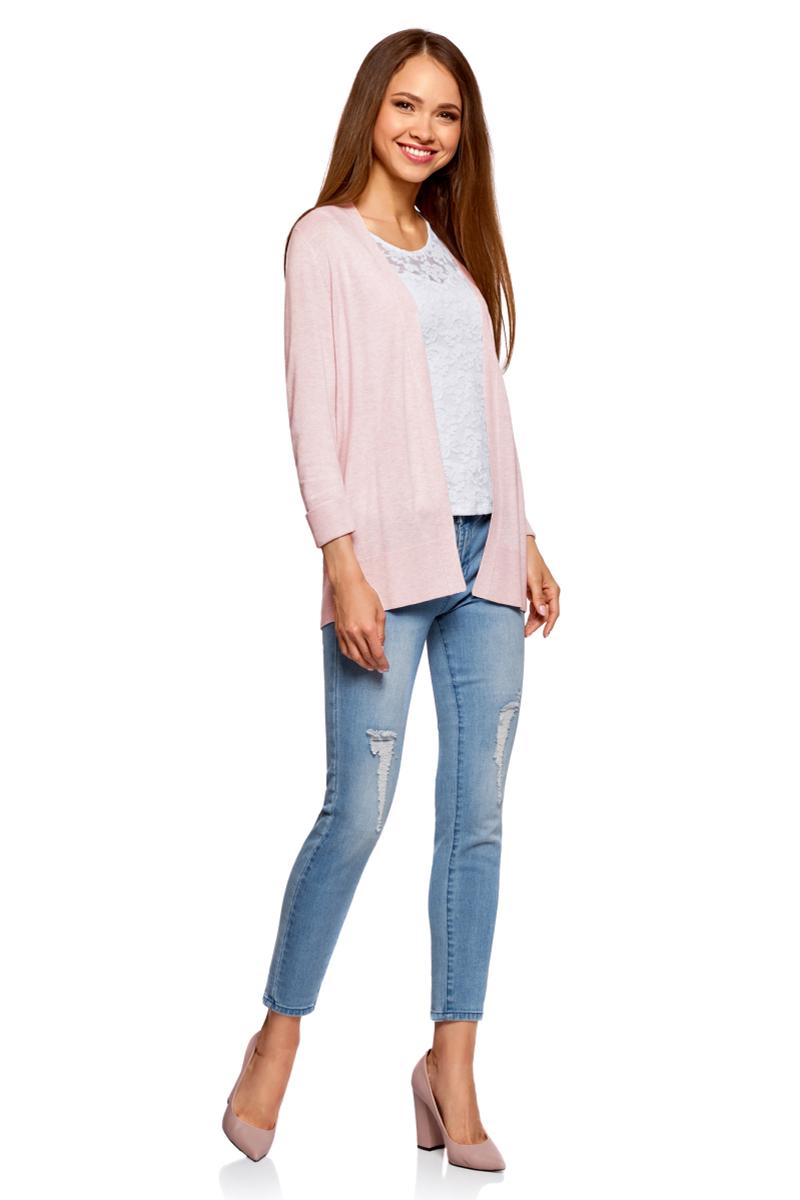 Жакет женский oodji Collection, цвет: светло-розовый меланж. 73212324-3/45641/4000M. Размер XXL (52)73212324-3/45641/4000MАжурный жакет без застежки. Модель с рукавами длиной 3/4 с отворотами легко комбинируется с одеждой в стиле casual. Чтобы подчеркнуть ажурную спинку, под жакет можно надеть футболку или рубашку. Дополнят образ узкие джинсы, брюки или кожаные лосины. Из обуви подойдут ботильоны на каблуке, кеды или слипоны. Вязаный жакет можно сочетать с повседневными платьями, слипонами или балетками. Тонкий поясок на талию и объемная сумка дополнят образ. В прохладную погоду оригинальный жакет идеально дополнит ваш базовый гардероб.