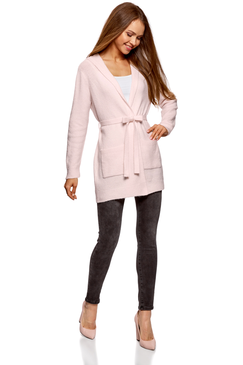 Кардиган женский oodji Collection, цвет: светло-розовый. 73207204-2/45963/4000N. Размер M (46)73207204-2/45963/4000N