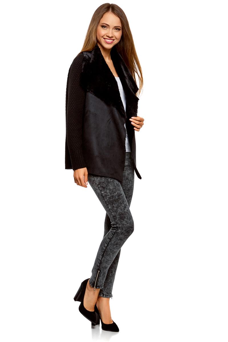 Жакет женский oodji Collection, цвет: черный. 73205182-1/31328/2900N. Размер M (46)73205182-1/31328/2900N