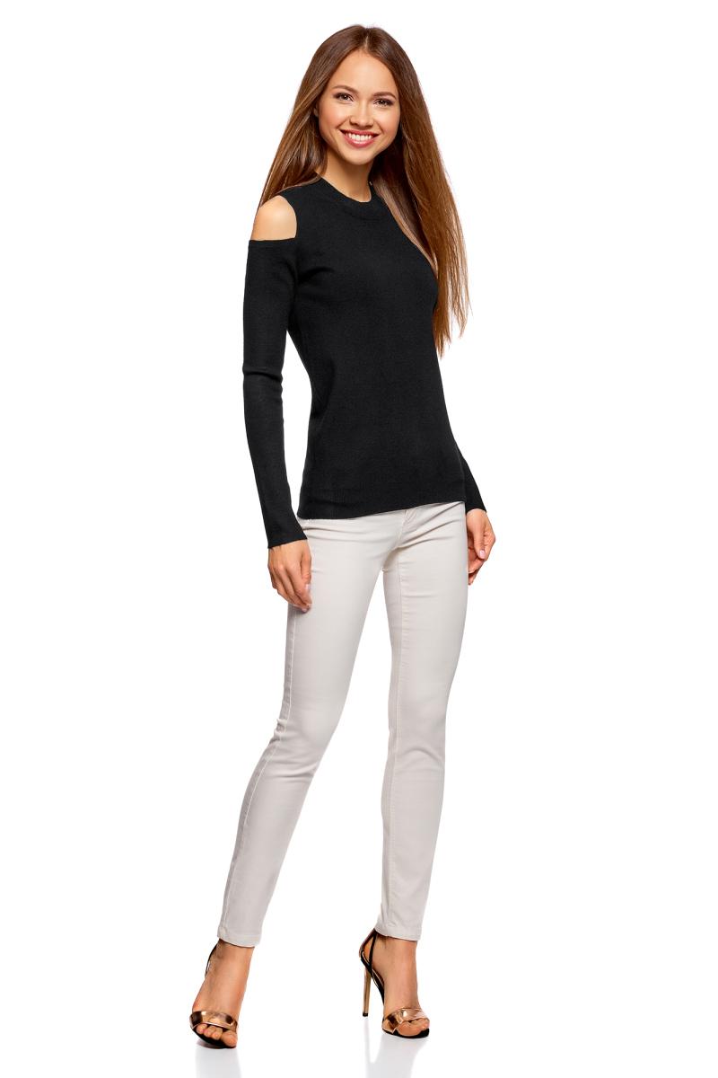 Джемпер женский oodji Ultra, цвет: черный. 63814008/46750/2900N. Размер XL (50)63814008/46750/2900N