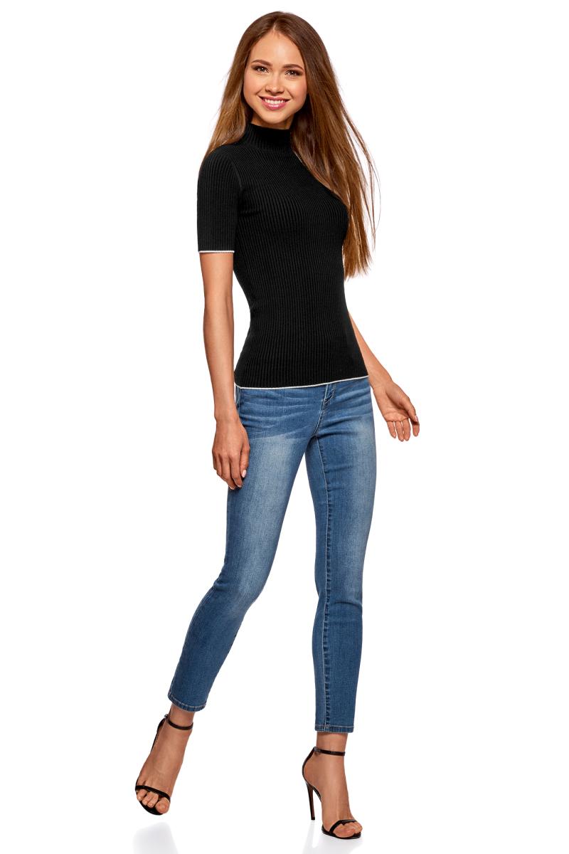 Джемпер женский oodji Ultra, цвет: черный, белый. 63812608/47096/2912B. Размер XL (50)63812608/47096/2912B
