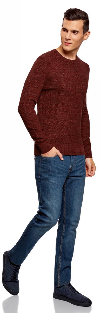 Джемпер мужской oodji Lab, цвет: бордовый, красный. 4L107119M/47106N/4945O. Размер S (46/48)4L107119M/47106N/4945O