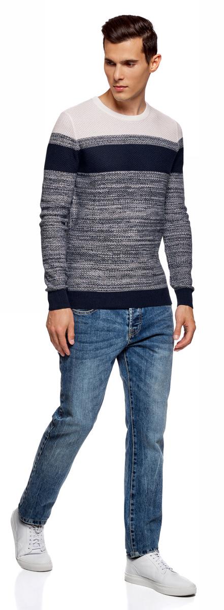 Джемпер мужской oodji Lab, цвет: темно-синий, белый. 4L112165M/25255N/7910N. Размер S (46/48)4L112165M/25255N/7910N