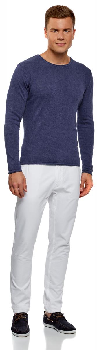Джемпер мужской oodji Lab, цвет: синий меланж. 4L112171M/21702N/7500M. Размер S (46/48)4L112171M/21702N/7500M
