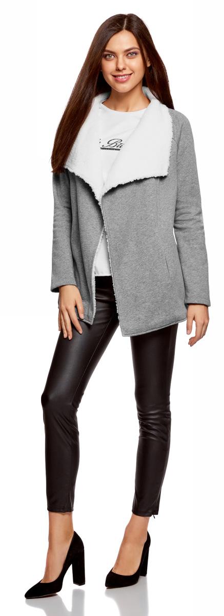 Кардиган женский oodji Ultra, цвет: серый меланж. 19207001/18586/2300M. Размер XL (50)19207001/18586/2300M