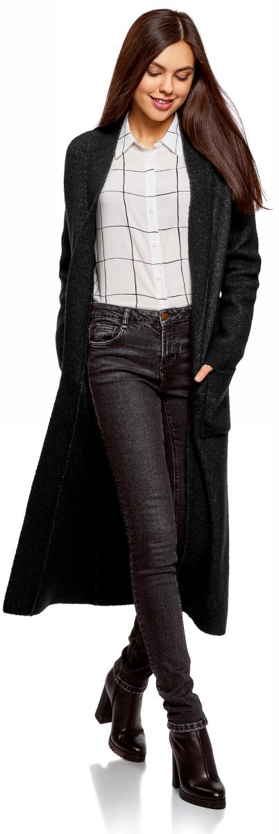 Кардиган женский oodji Ultra, цвет: черный, белый меланж. 63207191/45921/2912M. Размер XL (50)63207191/45921/2912M
