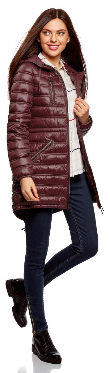 Куртка женская oodji Ultra, цвет: бордовый. 10203056B/33445/4900N. Размер 42-170 (48-170)10203056B/33445/4900N