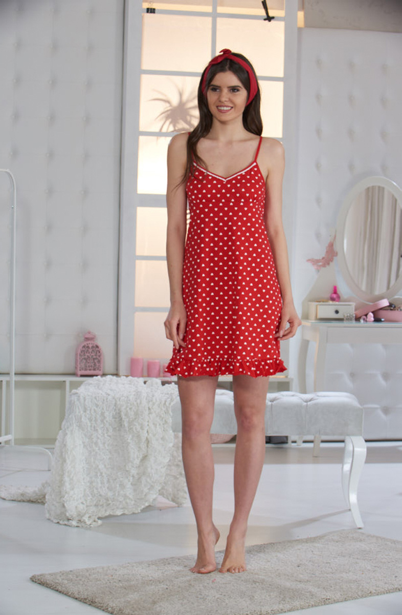 Ночная рубашка женская Sevim, цвет: красный. 10442 SV. Размер S (42/44)10442 SV