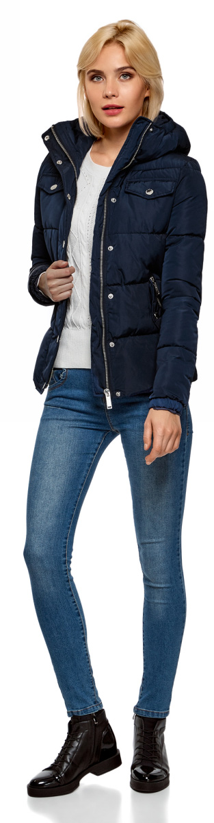 Куртка женская oodji Ultra, цвет: темно-синий. 10203069/43802/7900N. Размер 34-170 (40-170)10203069/43802/7900NКуртка женская oodji Ultra выполнена из полиэстера. Модель с длинными рукавами и капюшоном застегивается на застежку-молнию и кнопки.