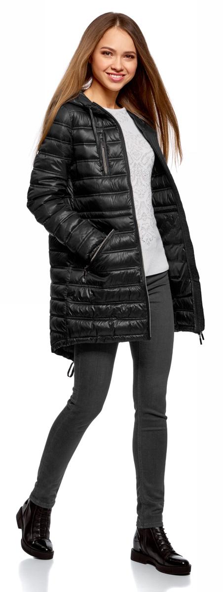 Куртка женская oodji Ultra, цвет: черный. 10203056B/33445/2900N. Размер 38-170 (44-170)10203056B/33445/2900N