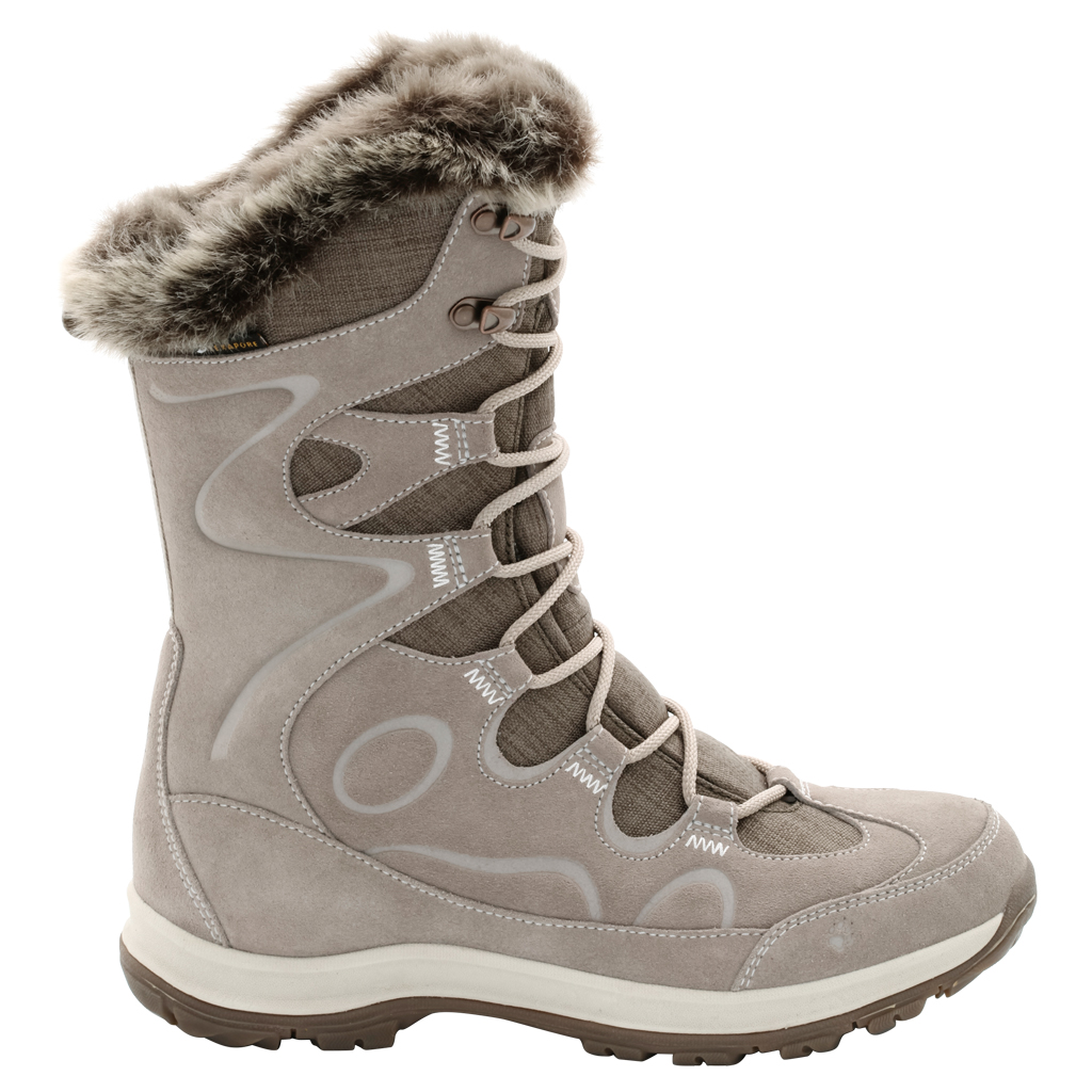 Ботинки трекинговые женские Jack Wolfskin Glacier Bay Texapore High W, цвет: светло-бежевый. 4020511-5041. Размер 8 (41)4020511-5041Водонепроницаемые зимние ботинки Jack Wolfskin до середины икры с особо теплой флисовой подкладкой. Благодаря подкладке из флиса Nanuk Ultra ваши ноги остаются в тепле при температурах до -30 °C, а высокие голенища дополнительно защищают от дождя, снега и холода. Подъем оформлен классической шнуровкой, которая надежно фиксирует обувь на ноге и регулирует объем. Язычок, препятствующий попаданию грязи внутрь, задник, мысок и промежуточная подошва декорированы символикой бренда. Также задник дополнен ярлычком для более удобного надевания обуви. Крепкая нескользящая подошва обеспечивает надежное сцепление и хорошо поддерживают ногу во время зимних прогулок. В таких ботинках вы будете чувствовать себя удобно и комфортно.