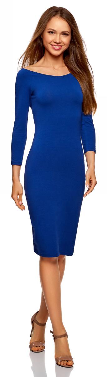 Платье женское oodji Ultra, цвет: синий. 14017001-6B/47420/7500N. Размер XXS (40)14017001-6B/47420/7500NИзящное трикотажное платье облегающего силуэта с длинными рукавами. Широкий вырез смотрится сексуально и красиво приоткрывает спину. Рукава реглан подчеркивают линию груди. Платье длиной до колен красиво облегает фигуру, акцентируя внимание на бедрах и ногах. Хлопковый трикотаж приятен для тела, дышит и легок в уходе. Благодаря добавлению эластана он слегка тянется и обеспечивает свободу движений, при этом отлично держит форму после стирки. Платье эффектно сидит и отлично смотрится. Стильное сдержанное платье прекрасно подходит для создания женственных повседневных образов. Его можно надеть на свидание, прогулку по городу, встречу с друзьями. Оно прекрасно смотрится с обувью на высоком каблуке. Наряд можно дополнить броскими аксессуарами и украшениями. С ними вы сможете правильно расставить акценты в своем образе. В этом платье вы всегда будете выглядеть стильно и ловить на себе восхищенные взгляды окружающих.