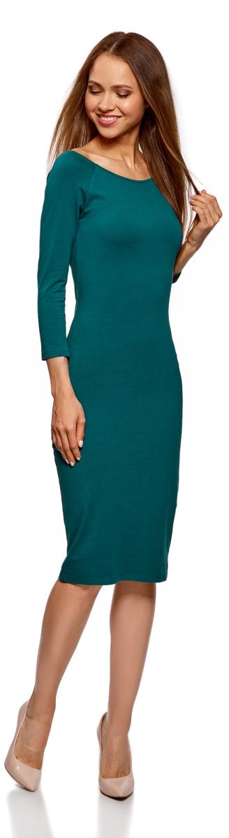 Платье oodji Ultra, цвет: темно-изумрудный. 14017001-6B/47420/6E00N. Размер L (48)14017001-6B/47420/6E00NИзящное трикотажное платье облегающего силуэта с длинными рукавами выполнено из полиэстера с добавлением эластана. Платье эффектно сидит и отлично смотрится.