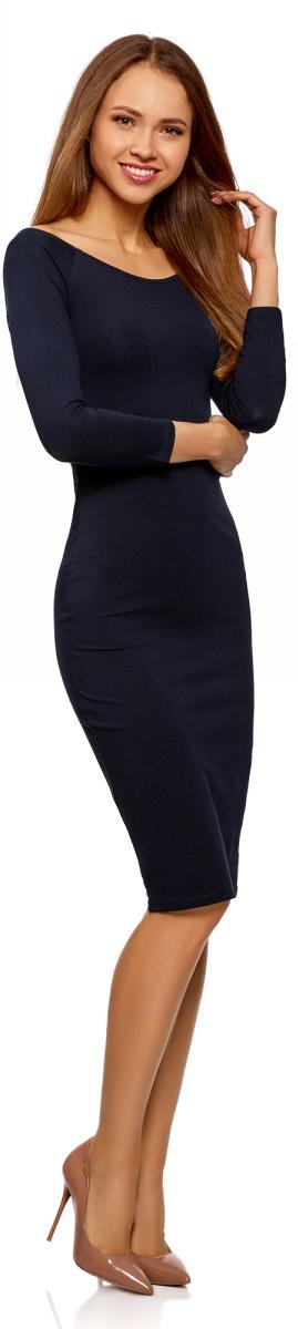 Платье женское oodji Ultra, цвет: темно-синий. 14017001-6B/47420/7900N. Размер XXS (40)14017001-6B/47420/7900NИзящное трикотажное платье облегающего силуэта с длинными рукавами. Широкий вырез смотрится сексуально и красиво приоткрывает спину. Рукава реглан подчеркивают линию груди. Платье длиной до колен красиво облегает фигуру, акцентируя внимание на бедрах и ногах. Хлопковый трикотаж приятен для тела, дышит и легок в уходе. Благодаря добавлению эластана он слегка тянется и обеспечивает свободу движений, при этом отлично держит форму после стирки. Платье эффектно сидит и отлично смотрится. Стильное сдержанное платье прекрасно подходит для создания женственных повседневных образов. Его можно надеть на свидание, прогулку по городу, встречу с друзьями. Оно прекрасно смотрится с обувью на высоком каблуке. Наряд можно дополнить броскими аксессуарами и украшениями. С ними вы сможете правильно расставить акценты в своем образе. В этом платье вы всегда будете выглядеть стильно и ловить на себе восхищенные взгляды окружающих.