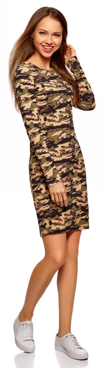 Платье женское oodji Ultra, цвет: темный хаки, черный. 14001183-2/47420/6829O. Размер S (44)14001183-2/47420/6829OЭлегантное трикотажное платье облегающего силуэта, с вырезом-лодочкой и длинными рукавами. Простота и тщательно продуманный крой являются главным достоинством этой модели. Платье сдержанного дизайна, без украшений и сложных элементов, смотрится стильно. Трикотаж приятен для тела, тянется и комфортен в ношении. Модель длиной до колен подходит для разных фигур.Стильное трикотажное платье прекрасно впишется в ваш домашний и повседневный гардероб. В нем можно прогуляться по городу с домашним питомцем или отправиться за город. В этом платье вы можете встречать гостей дома или выйти в магазин за срочными покупками. Оно прекрасно смотрится и само по себе, но его хорошо дополнят аксессуары: стильная сумка или рюкзак, шарф или броский платок. А завершающий штрих внесут украшения, например подвеска на тонкой цепочке. Прекрасное платье для тех, кто в любой ситуации отдает предпочтение женственному образу.