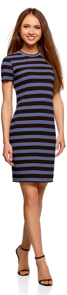 Платье oodji Ultra, цвет: черный, синий. 14011025-1/46389/2975S. Размер S (44)14011025-1/46389/2975SПлатье oodji Ultra выполнено из качественного материала. Модель с короткими рукавами и круглым вырезом горловины сзади застегивается на молнию. Изделие оформлено принтом в полоску.